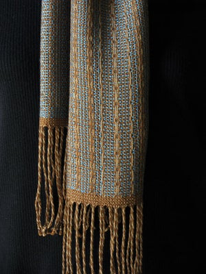 Image of Handwoven Scarf - Turquoise, bronze & light brown / Eco-friendly Tencel