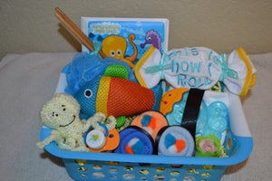 Image of Sushi, Baby! Boy Bath Gift Basket - Sushi Baby Shower Centerpiece