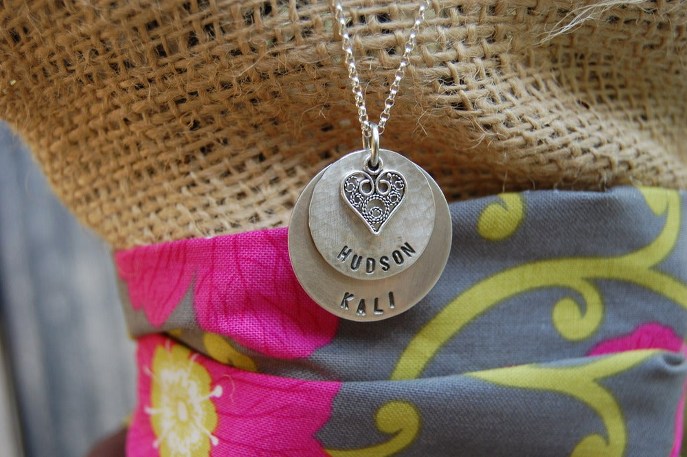 Image of Disc Necklace with Filagree Heart