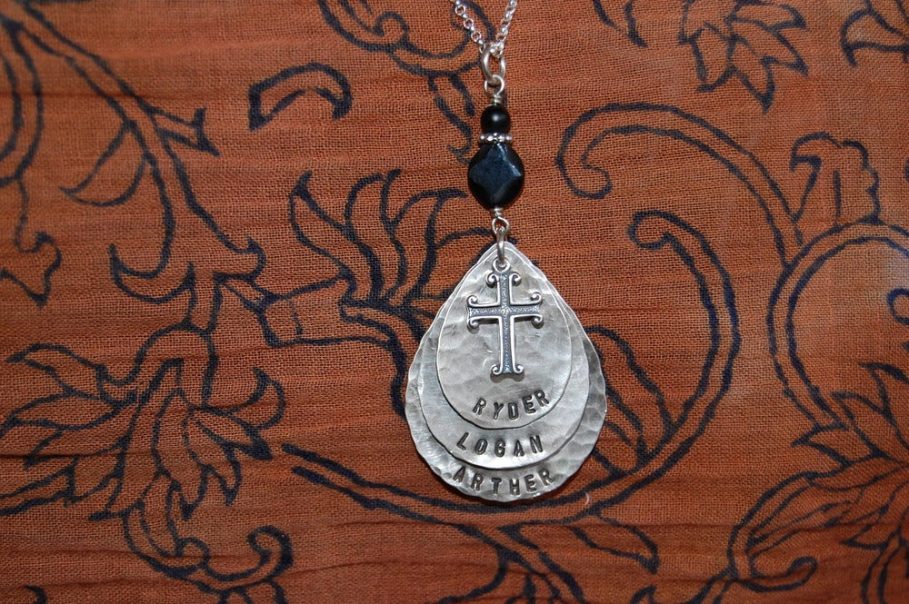 Image of Teardrop Necklace with Cross and Black Beads
