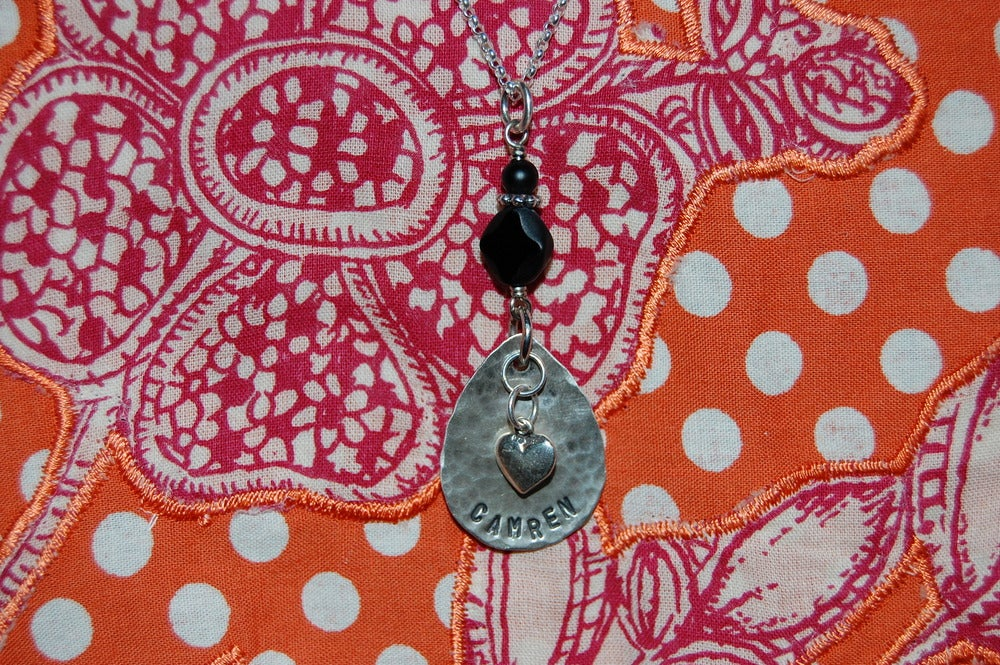 Image of Teardrop Necklace with Puff Heart and Black Beads