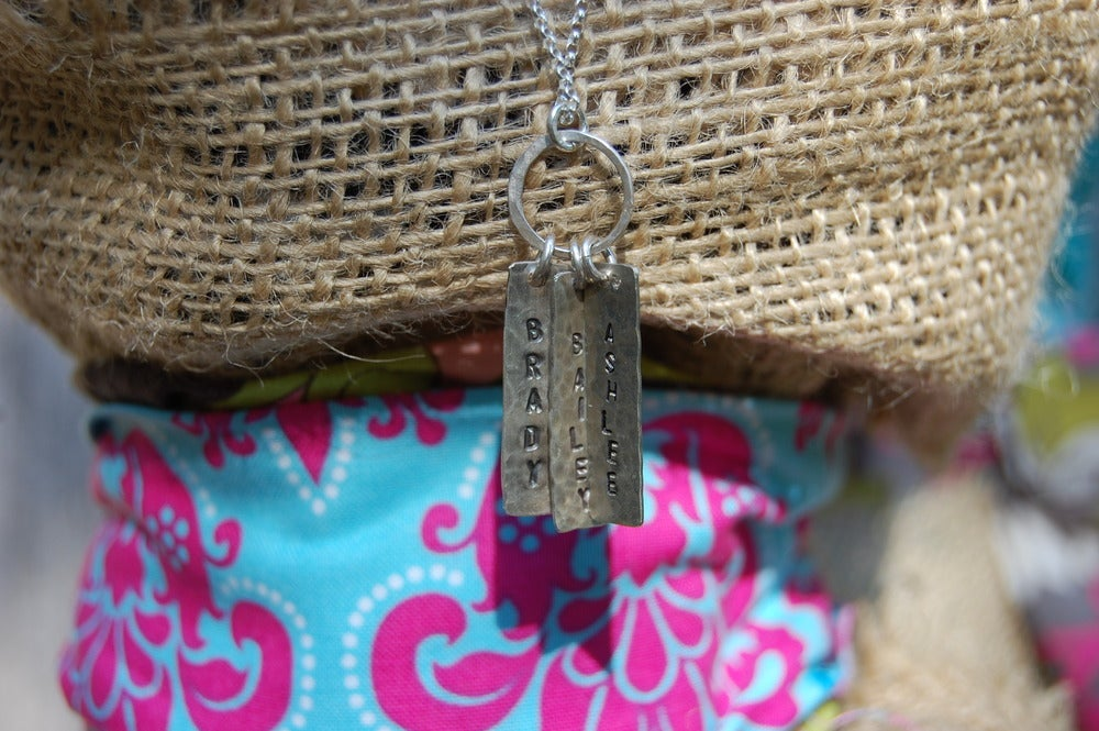 Image of Sterling Silver Rectangle Necklace