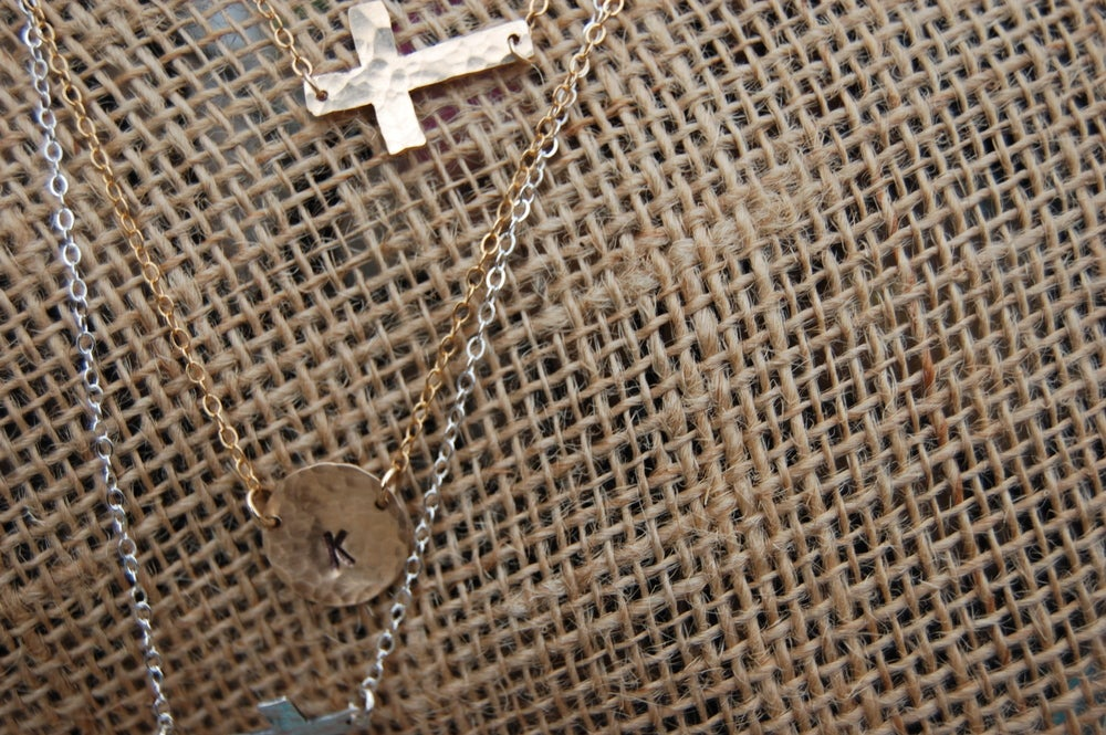 Image of Hammered Disc Initial Necklace
