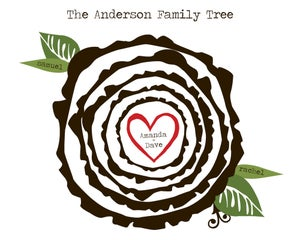 Image of Tree Woodcut/Ring Family Tree