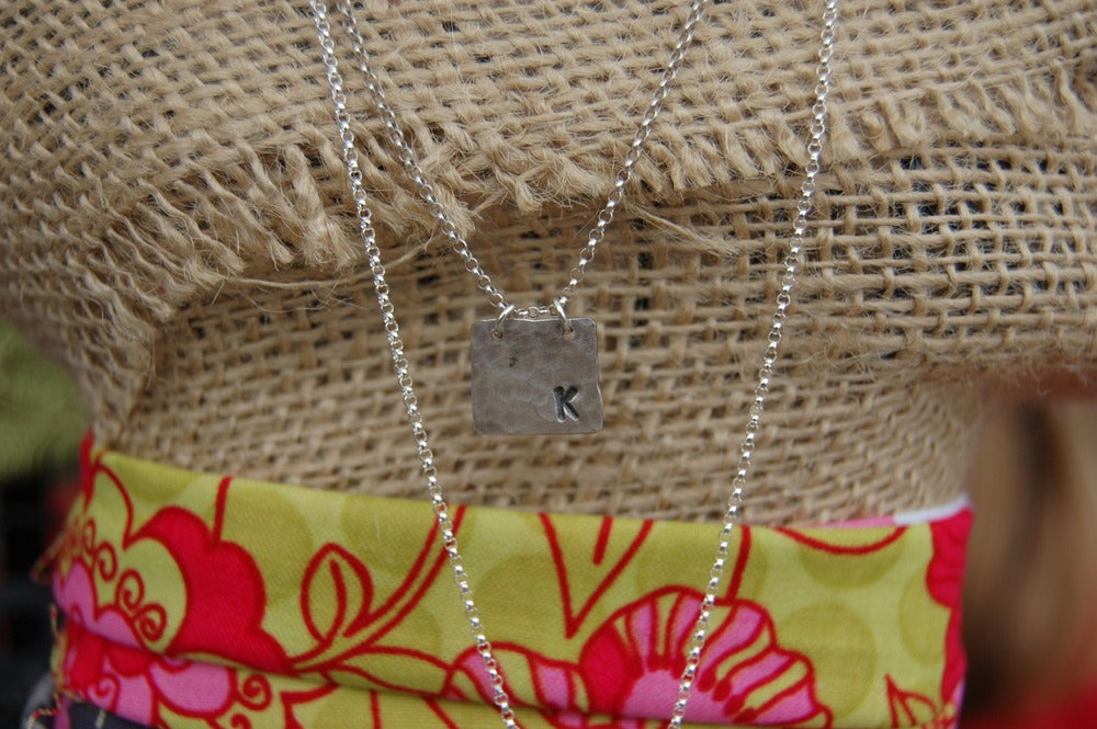 Image of Hammered Square Initial Necklace