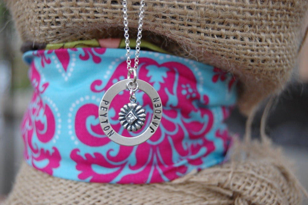 Image of Washer Necklace with Rhinestone Charm