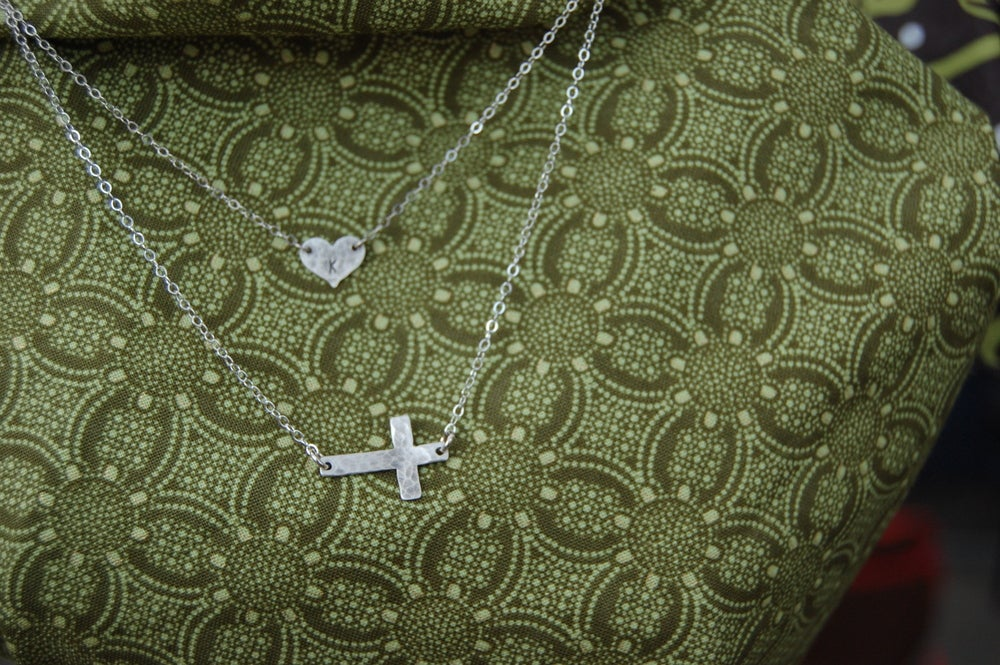 Image of Hammered Heart Initial Necklace