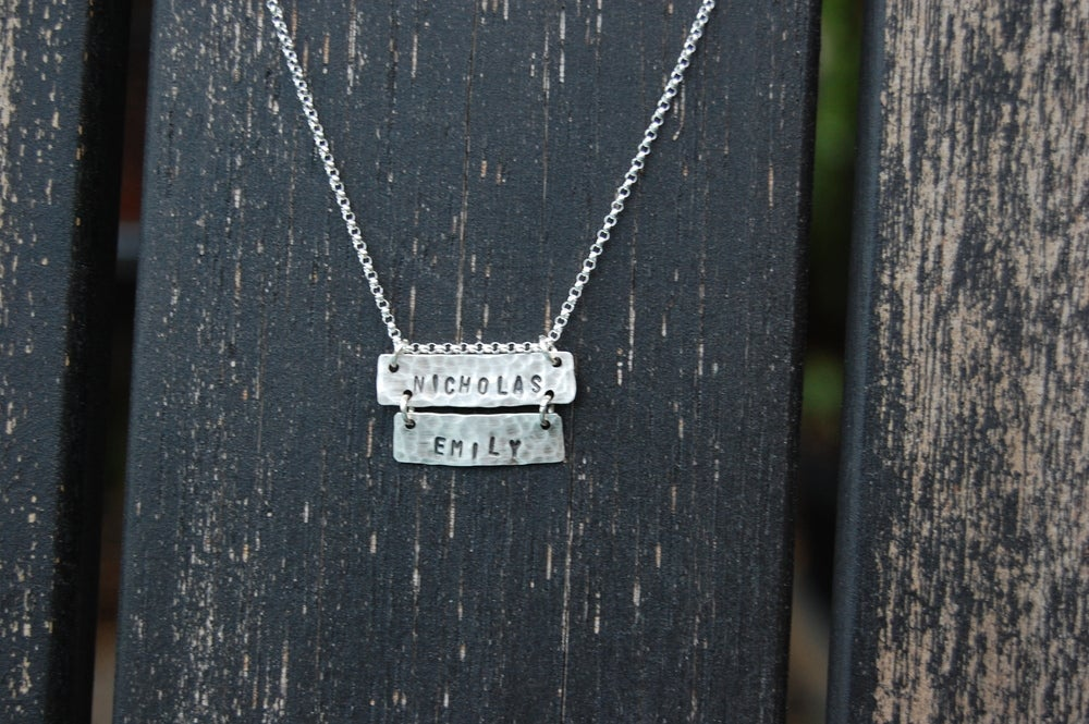 Image of Two Tier Horizontal Rectangle Necklace