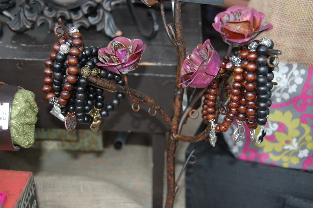 Image of Brown Wood Bead Bracelet with Brass Discs