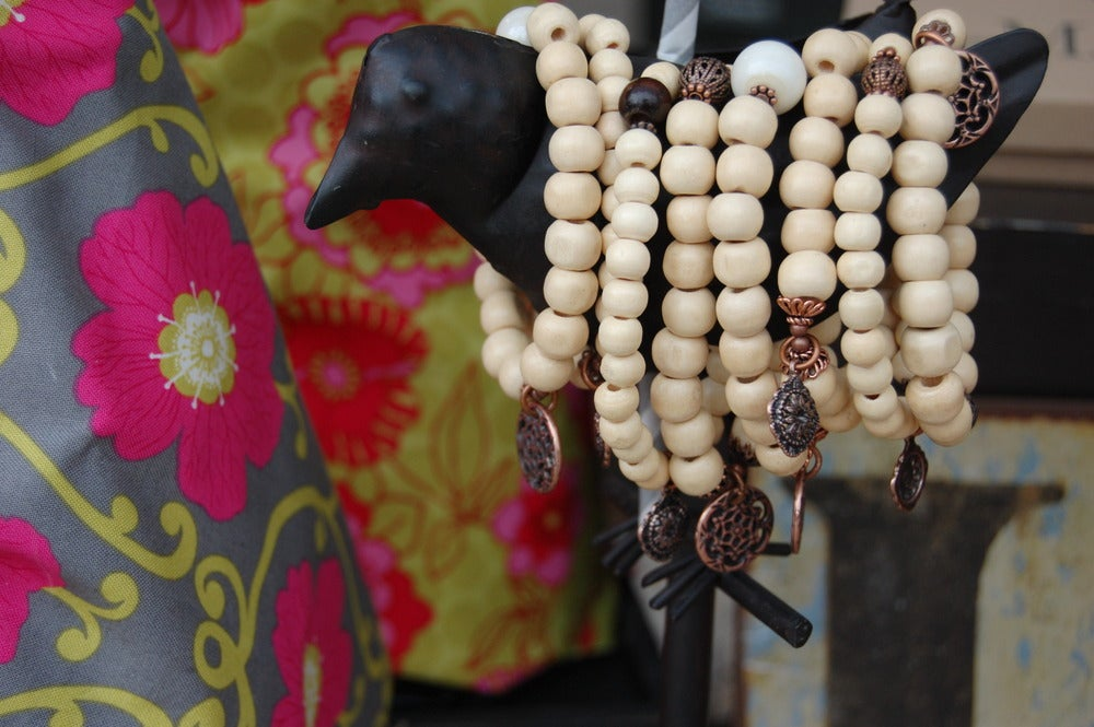 Image of Natural Wood Bead Bracelet with Copper Discs