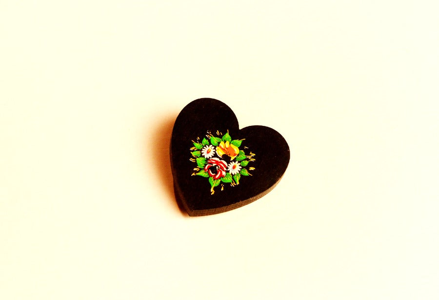 "Image of Lucky Gypsy ""Black Heart"" Hand Made Wooden Pin badge/Brooch - One for dark hearts! Designer: OMARINA"