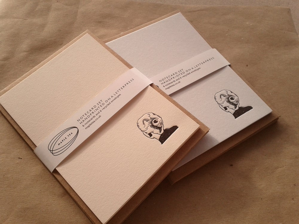 Image of Letterpress Notecard Set, Vertigo design, set of 6