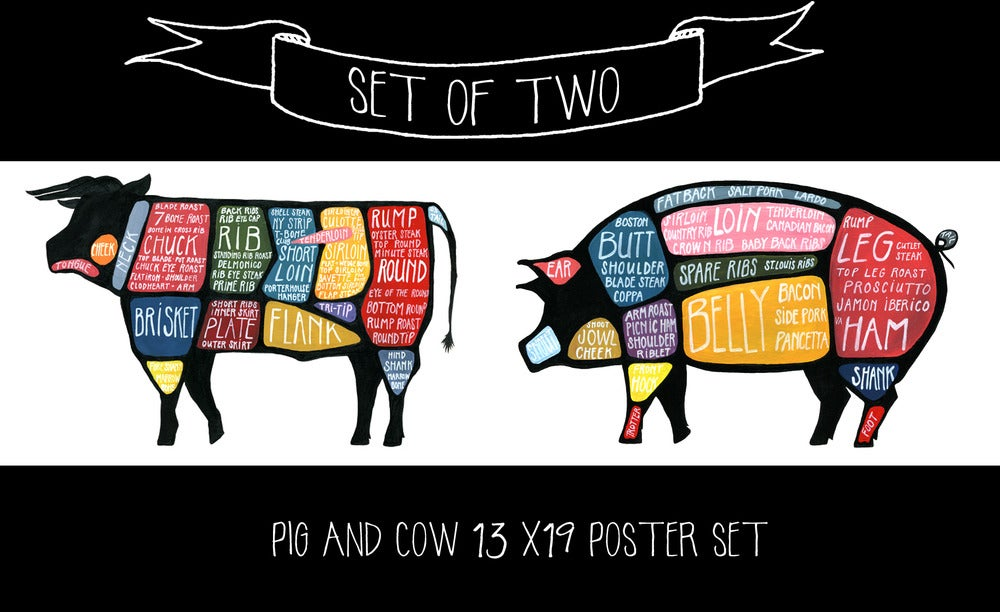 Image of Set of TWO - Pig and Cow Butchery Diagrams