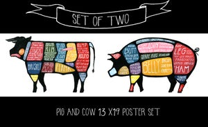 Set of TWO - Pig and Cow Butchery Diagrams by Alyson Thomas of Drywell Art. Available at shop.drywellart.com