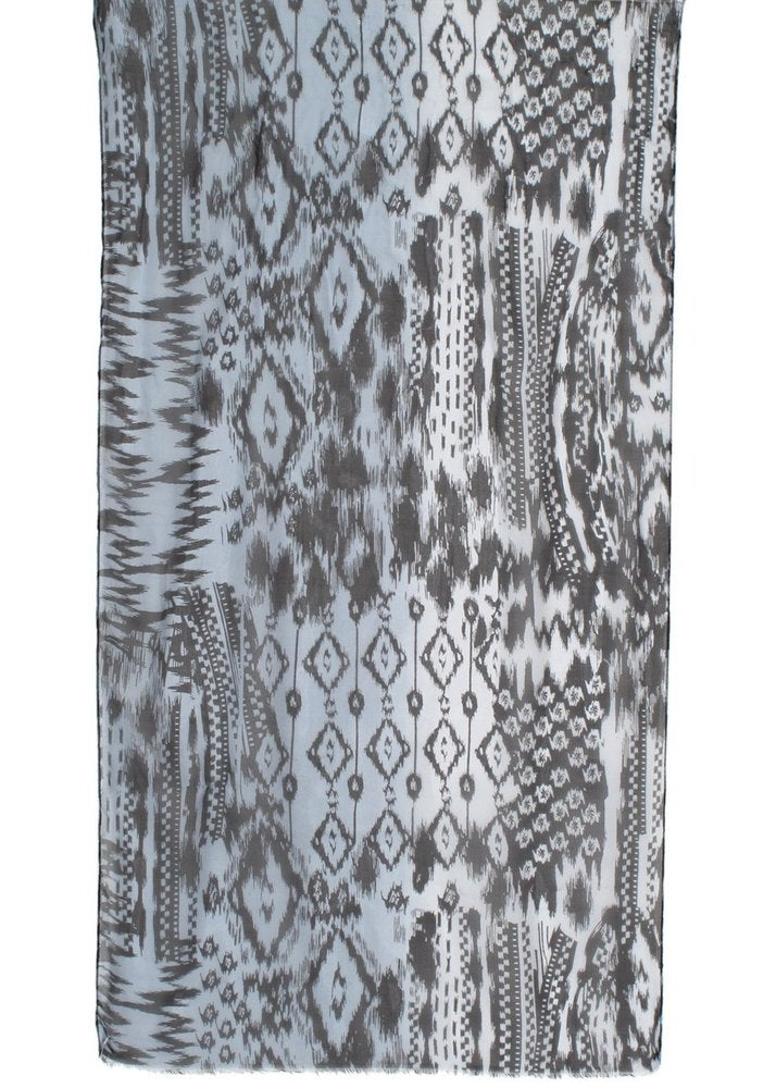 Image of Aztec Motif Printed Chiffon Scarf - Grey