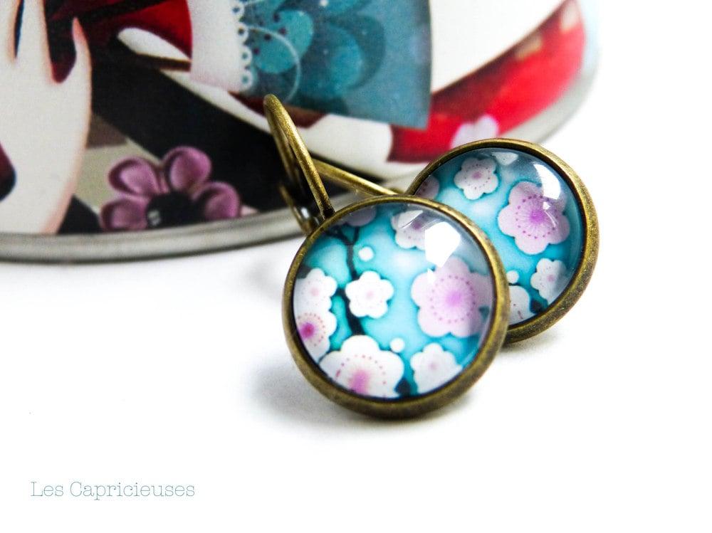 Image of Dormeuses fleurs du japon bleues