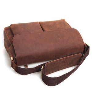 "Image of Vintage Handmade Crazy Horse Leather Messenger Bag / Satchel / 11"" MacBook 12"" Laptop Bag (n492)"