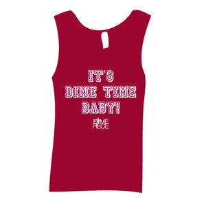 "Image of ""It's Dime Time Baby"" Varsity Workout Tank Pink"