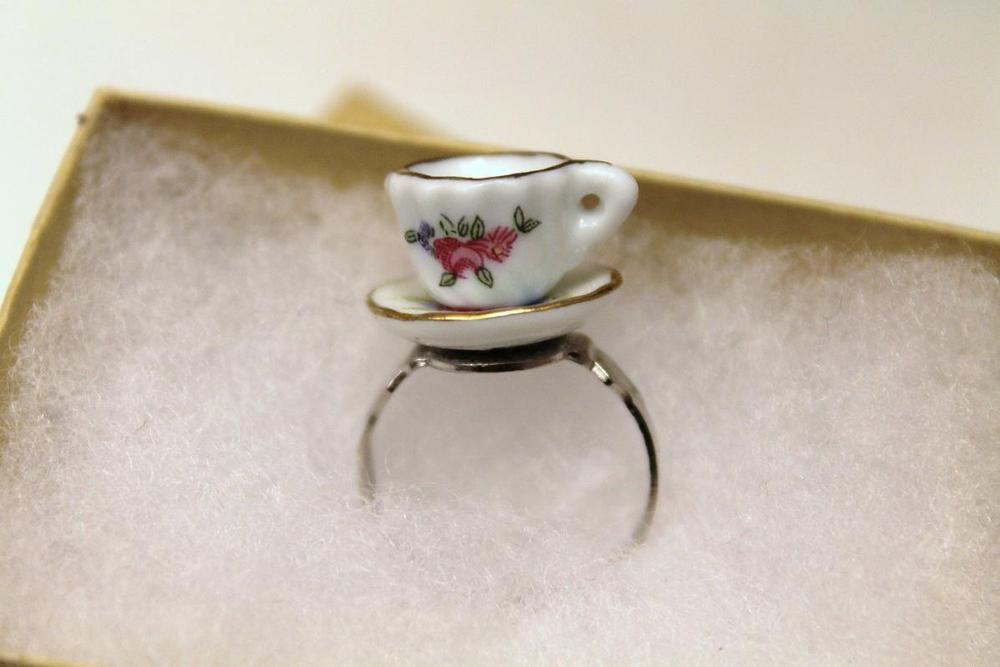 Teacup Statement Jewelry Tea Party Favors Teacup Ring Tea Lover Gift Coffee Cup Floral Jewelry Adjustable Ring Statement Ring