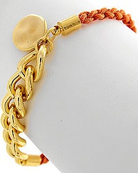 Image of Orange Woven Cord and Chain Bracelet