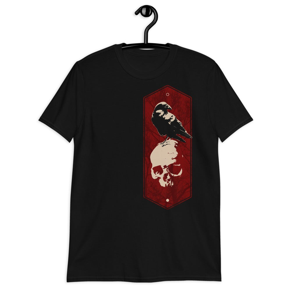 Image of Crow Skull / Yin Yang /Gothic t-shirt/ Red Black and White/black Crow t-shirt