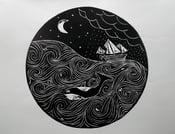 Image of Stormy Seas Lino Print
