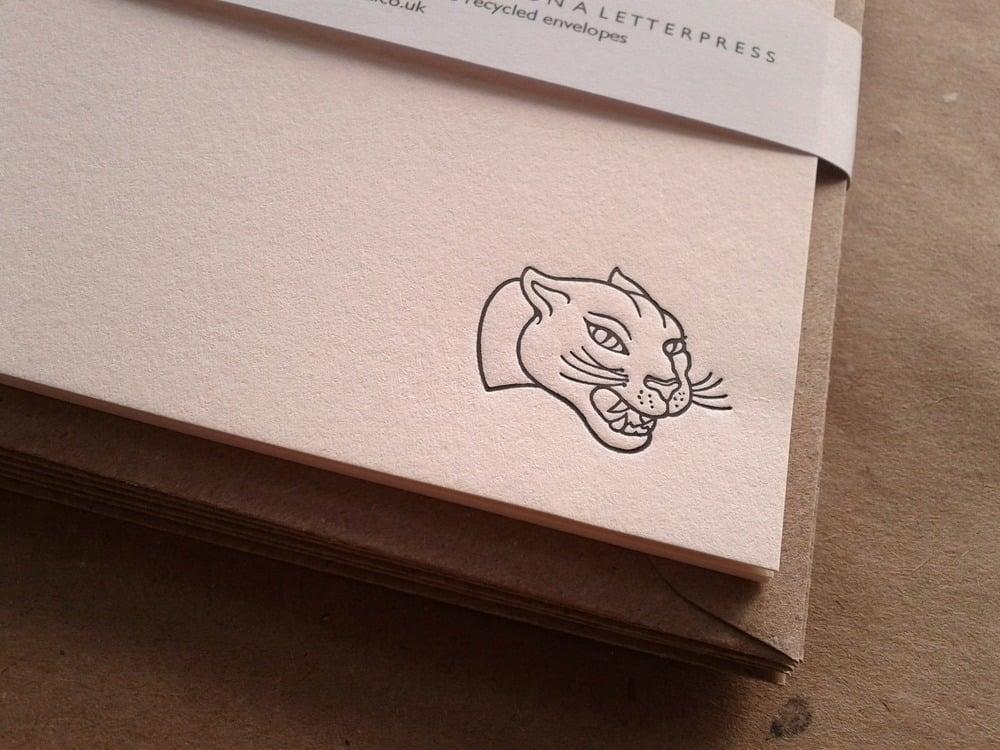 Image of  Letterpress Notecard Set, Panther design, set of 6