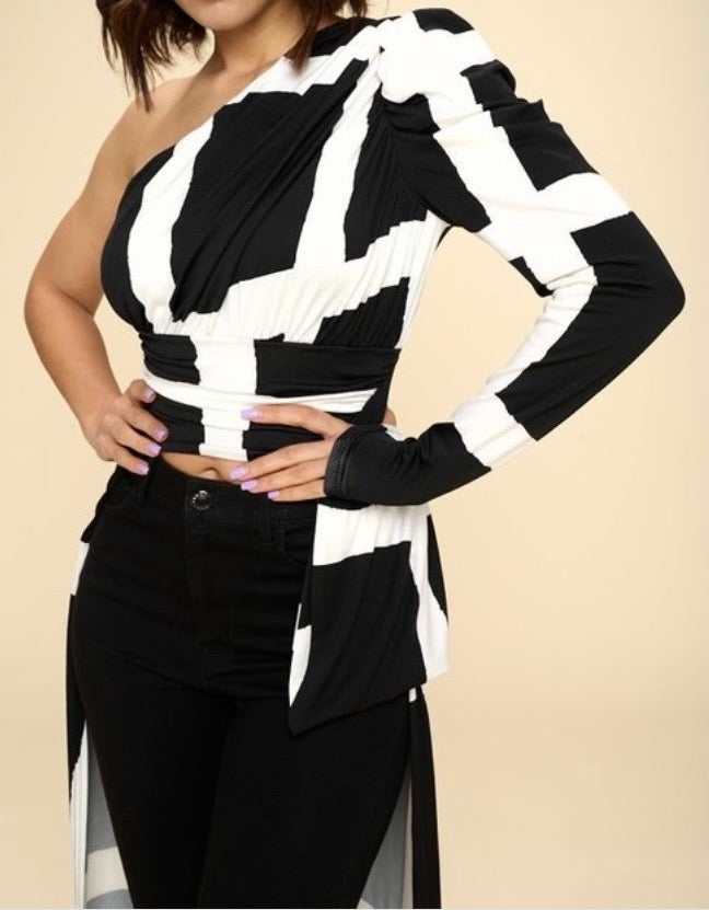 Image of Black & White  One Shoulder High Low Top