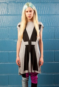Image of BIG 'X' Womens Tee Dress In Grey Marl