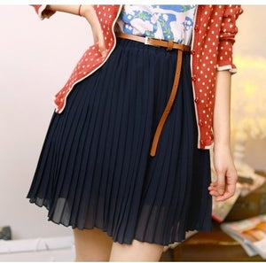 Image of Chiffon Skirt with Belt