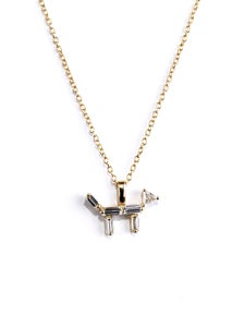 Image of Matchstick Yellow Gold Dog Necklace