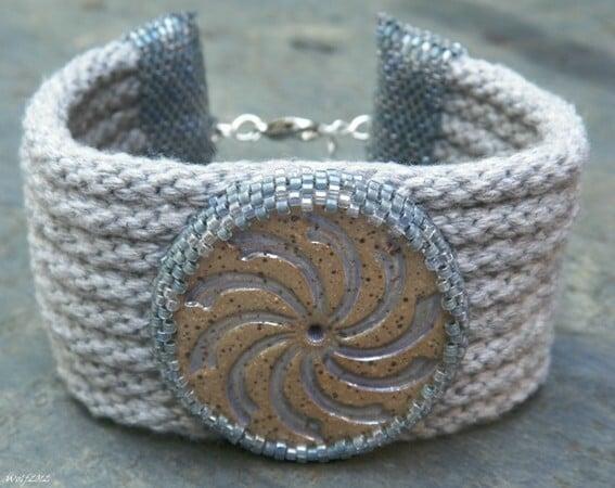 Image of SALE! Whirligig, handbeaded kumihimo cuff
