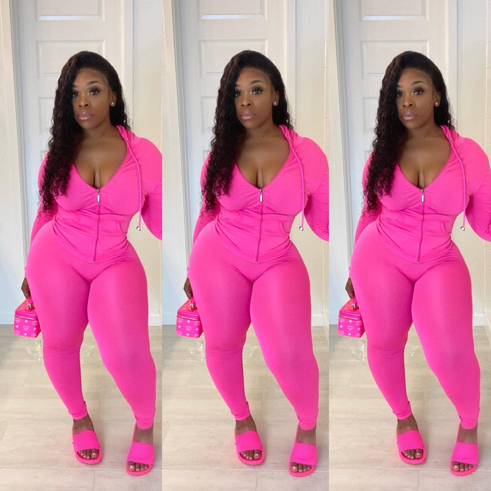 Image of PINK TRACKSUIT TWO PIECE SET