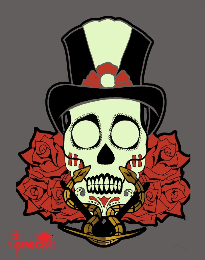 Image of SHANGO SUGAR SKULL W/ GOLD METALLIC INK T-SHIRT DK. GREY GLOW IN THE DARK EDITION
