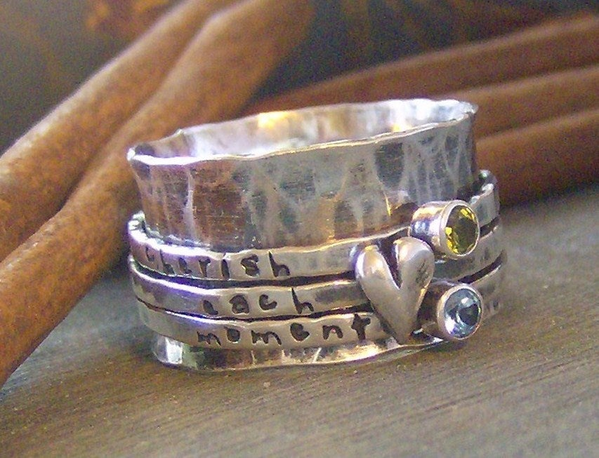 Heart And Stones Spinner Ring Sterling Silver