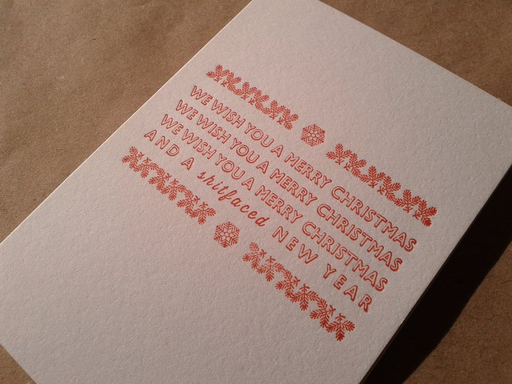 Letterpress Christmas Cards.Letterpress Christmas Card We Wish You A In Red A7 Size Blank Inside