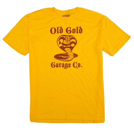"Image of NEW! Old Gold ""Cobra King"" T-shirt /Red on Gold"