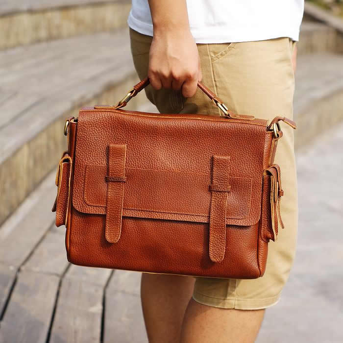 "Image of Handmade Genuine Leather Briefcase / Messenger / 11"" MacBook Air or 12"" Laptop Bag in Brown (n64-2)"