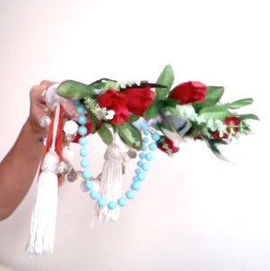 Image of Ice Blue and Red Rose Crown SOLD