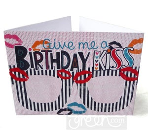 Image of Original Card Glasses-Birthday Kiss
