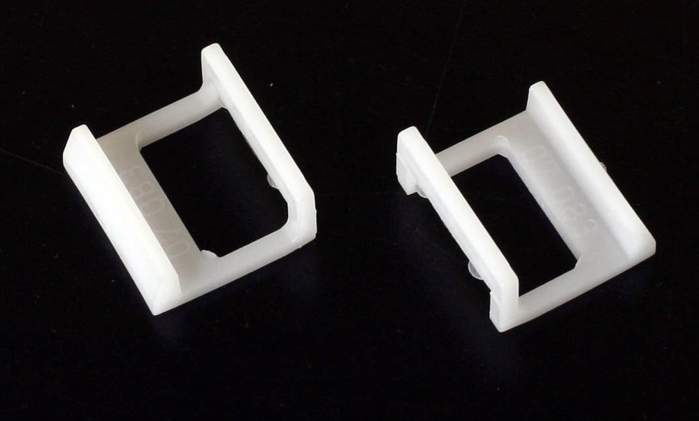 Image of Pair of White Jobo Retaining Clips (#07083)