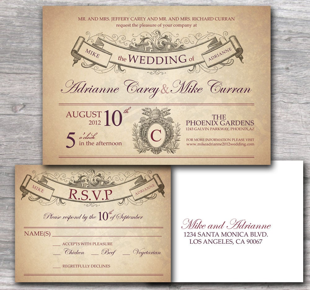 Ornate Wedding Invitation with Rustic French Style Sample Set ...