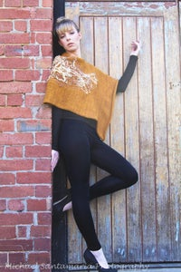 Image of Creative Functional Tonal Knitted Poncho Scarf with Textural Embroidery Women Mustard Gold