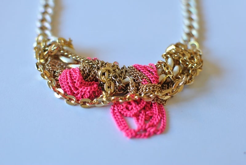 Image of Pink and Ivory Chain Necklace