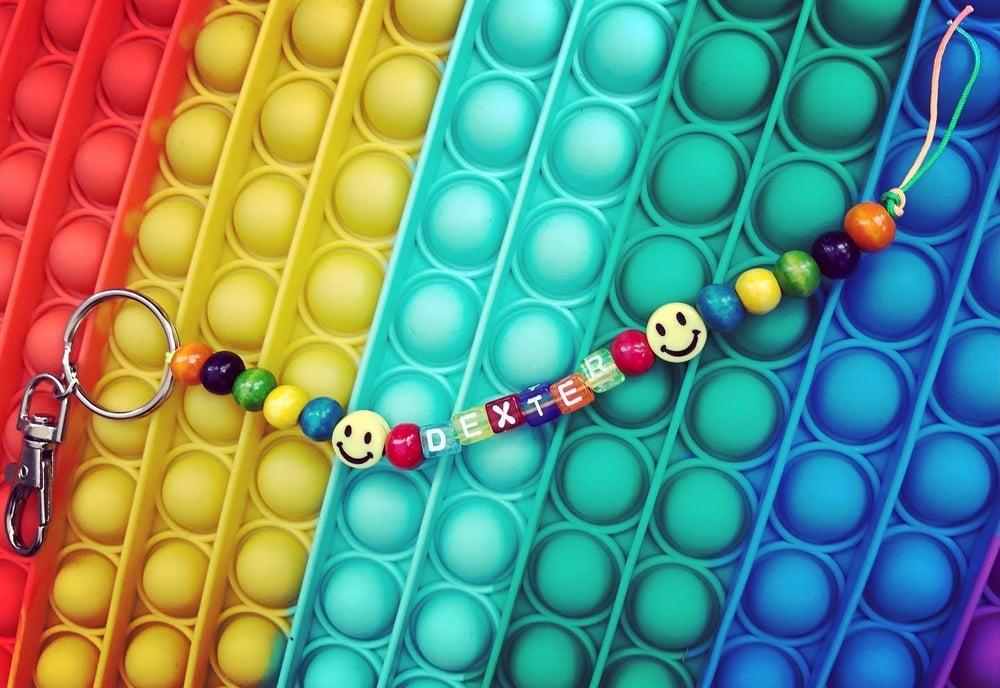 Image of Personalised multi coloured keyring