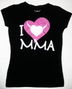 Image of I Love MMA - Ladies Stretch Crewneck T-Shirt w/Pink Logo