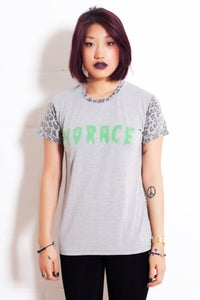 Image of Horace Leopard print T-shirt. Grey and White.