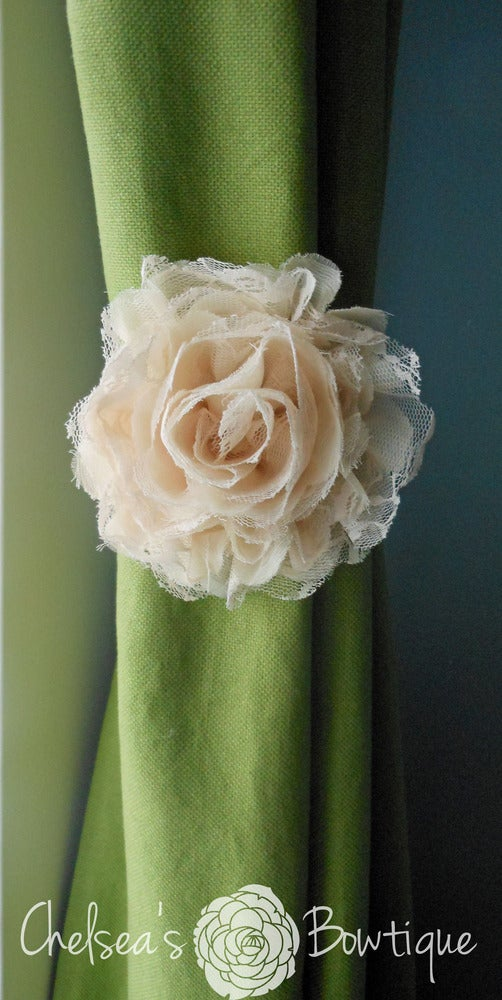 Chelsea S Bowtique Flower Curtain Tie Back Shabby Chic