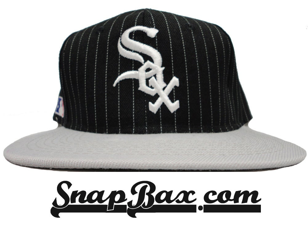 Image of Vintage Deadstock Chicago White Sox Sports Specialties Wool Pin Stripe Logo Script Snapback Hat Cap