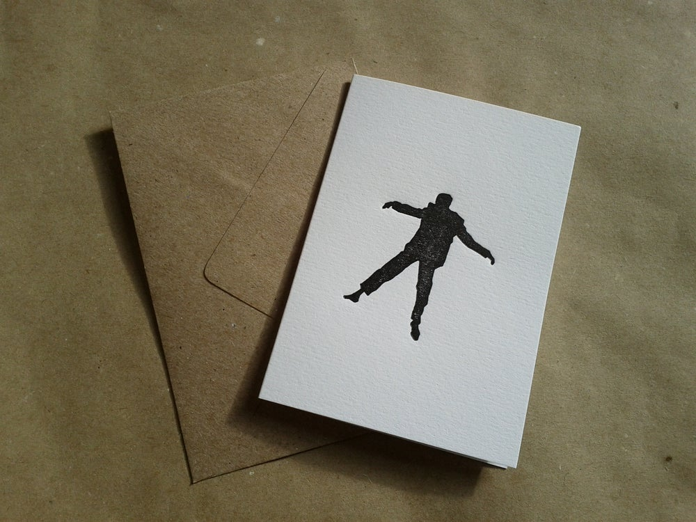 Image of Letterpress Greetings Card - Vertigo Falling Man (A7 size, blank inside)